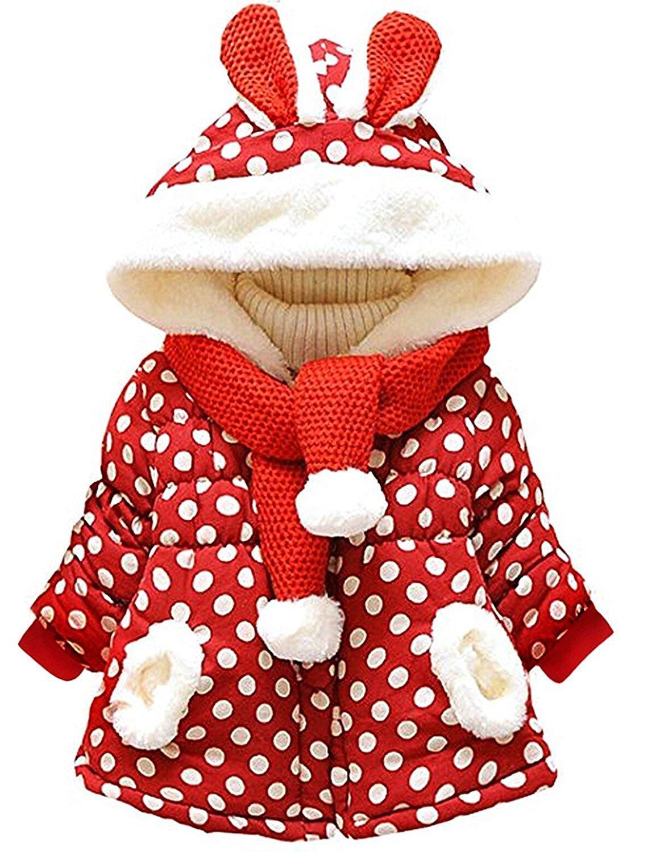 Tkiames KidsBabyGrilsFleeceJacketsCarttonHooded CoatWinterHoodieWarm Outerwear