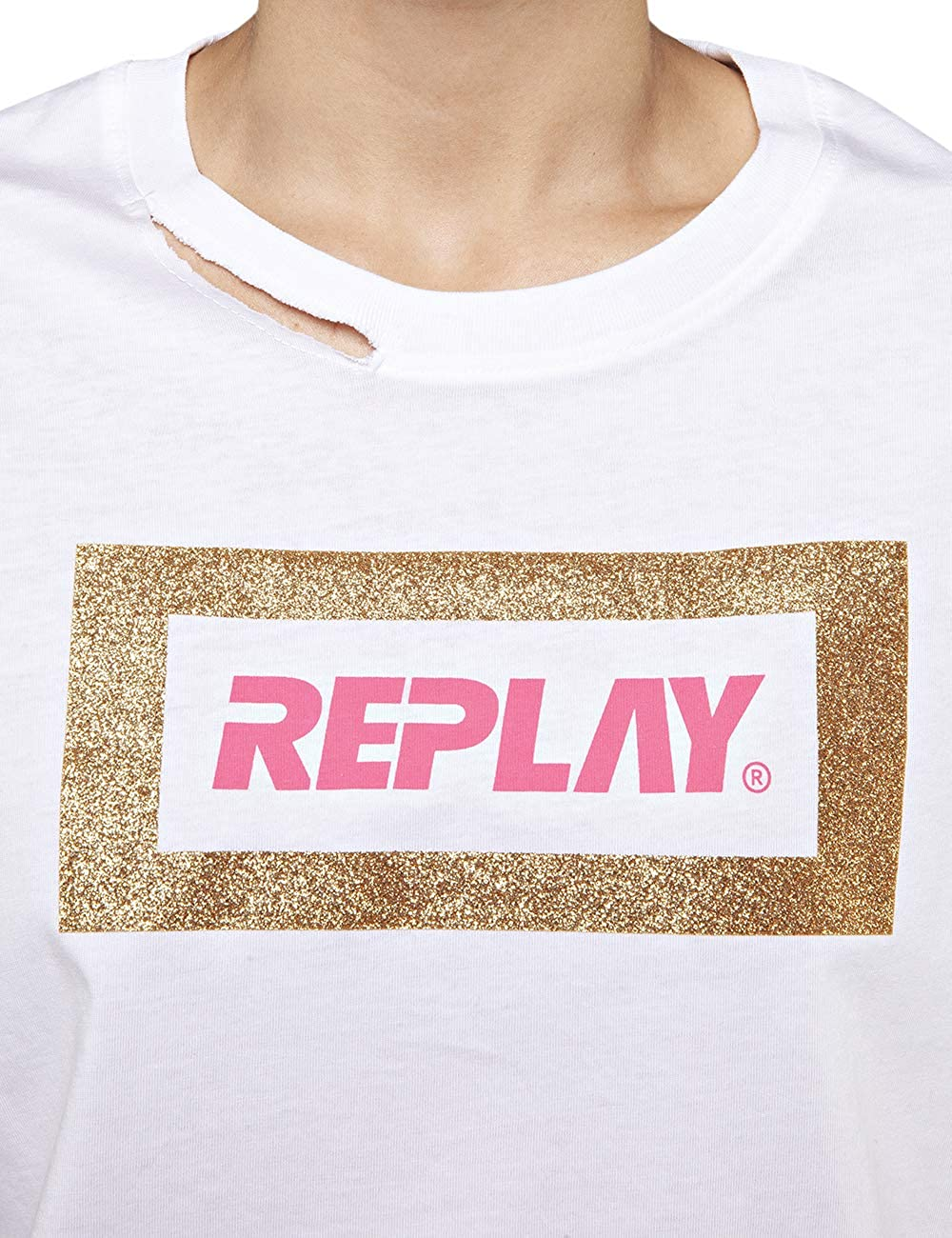 Replay Womens Glitter Frame T-Shirt White in Size L
