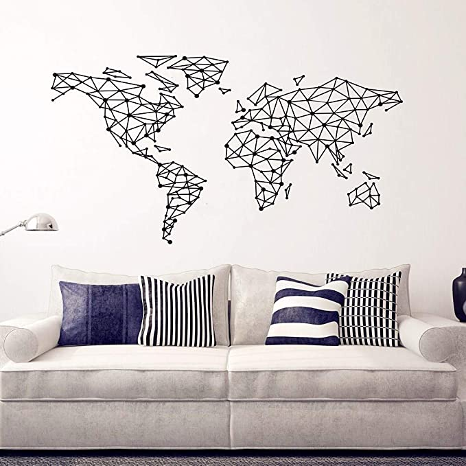 Wall Sticker 1pc Geometric Compass World Map Room Stylish Modern Art Mural Decor