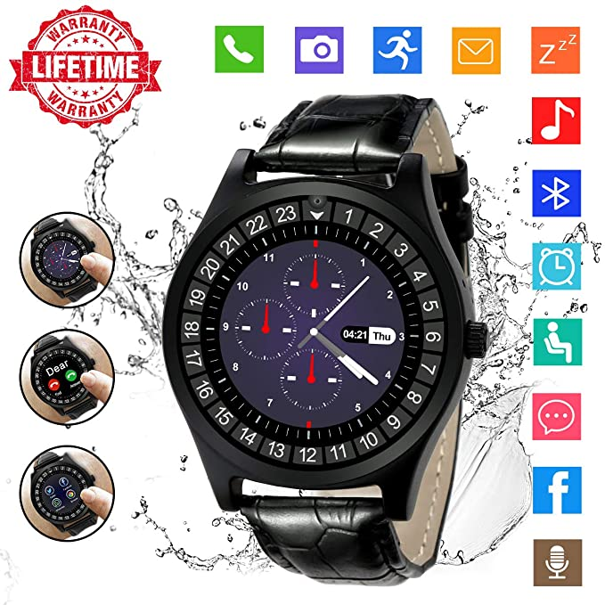 Android Smartwatch Bluetooth,Impermeable Reloj Inteligente con Cámara,Bluetooth Tactil Telefono Smart Watch Sport