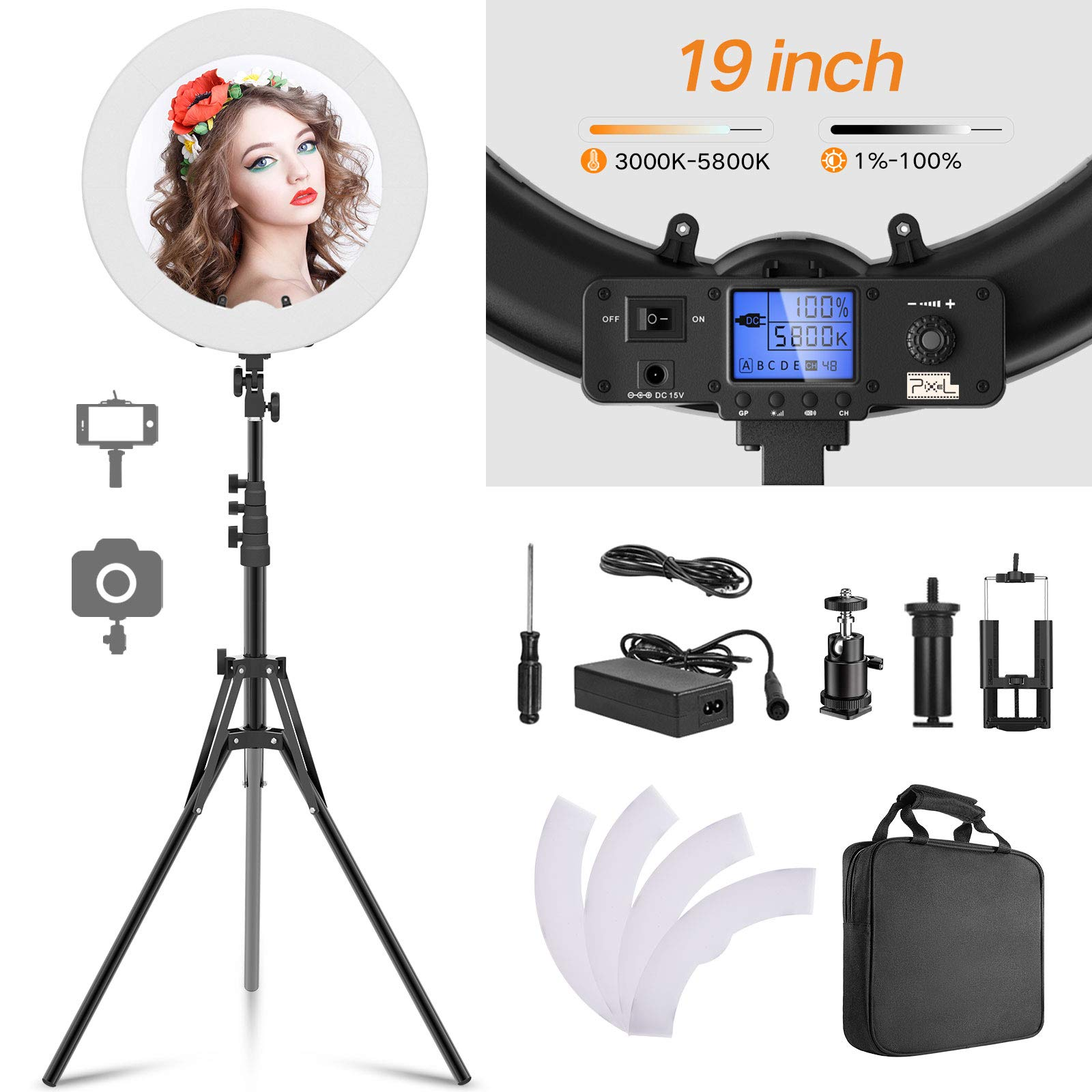 PIXEL 19inch Ring Light Kit With Tripod Stand, 55W Bi-Color 3000-5800K Dimmable LED Lighting Built-in Wireless Receiver,Carrying Bag For YouTube Video,Makeup,Vlog, Photography,Self-Portrait Shooting