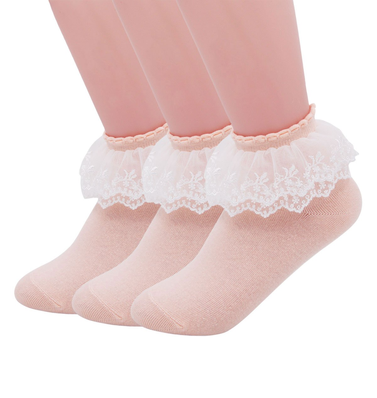 SEMOHOLLI Women Socks, Princess Socks, Lace Socks, Cotton Casual Socks Double-deck With Ruffle Frilly Lace Top (3 Pairs-Light Orange)