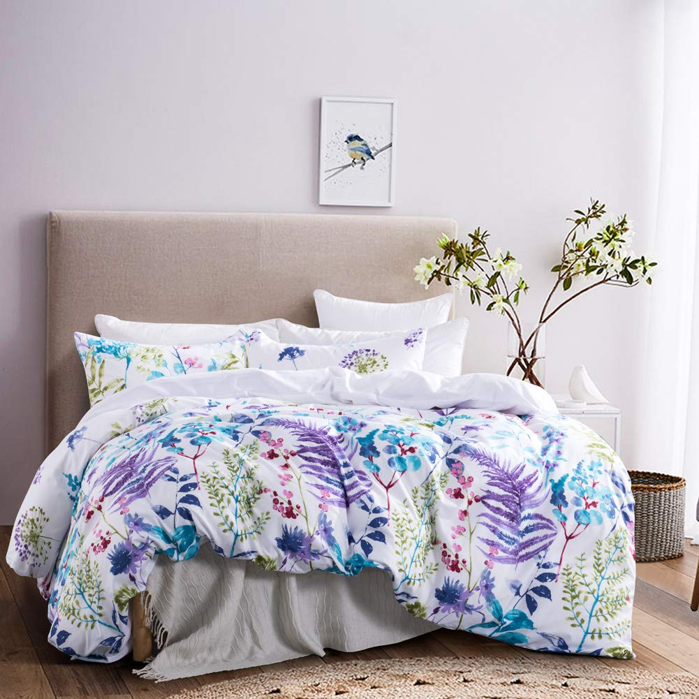 Leadtimes Purple Duvet Cover Queen Lavender Floral Comforter Cover Set with 1 Duvet Cover and 2 Pillowcases (Queen, Style9 Lavender)