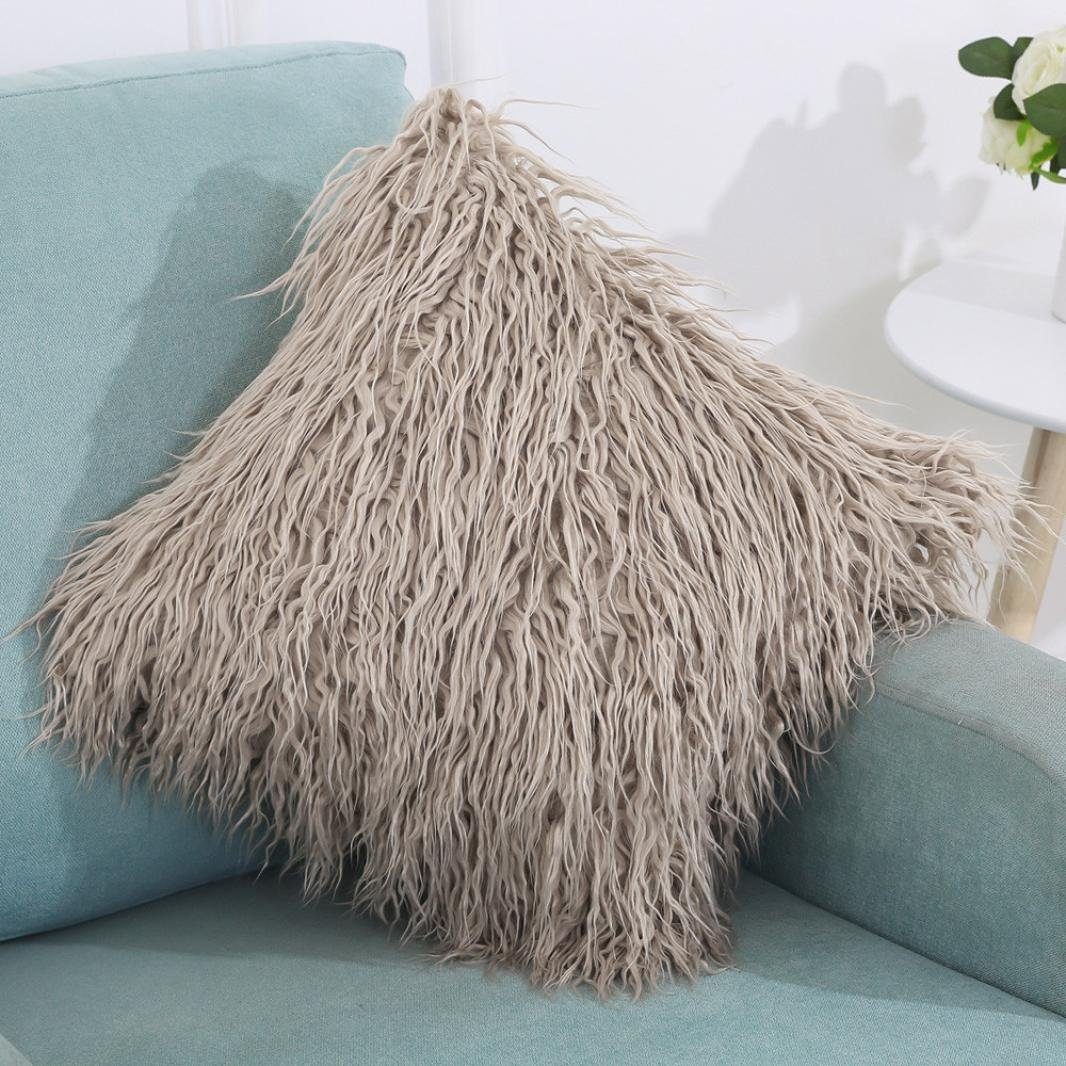 Fluffy Long Faux Fur Cushion Cover, Indexp Plush Soft Touching Feeling Sofa Cafe Home Decor Throw Pillow Cases (Black)