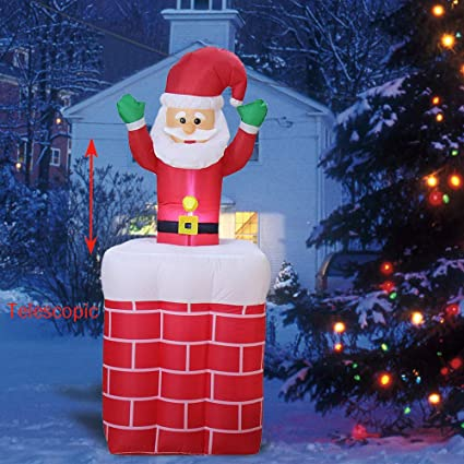 Christmas Inflatables.Phoenixreal 6 Foot Christmas Inflatables Santa In Chimney Airblown Animated Up And Down Santa Claus Lighted For Home Outdoor Yard Lawn Decoration