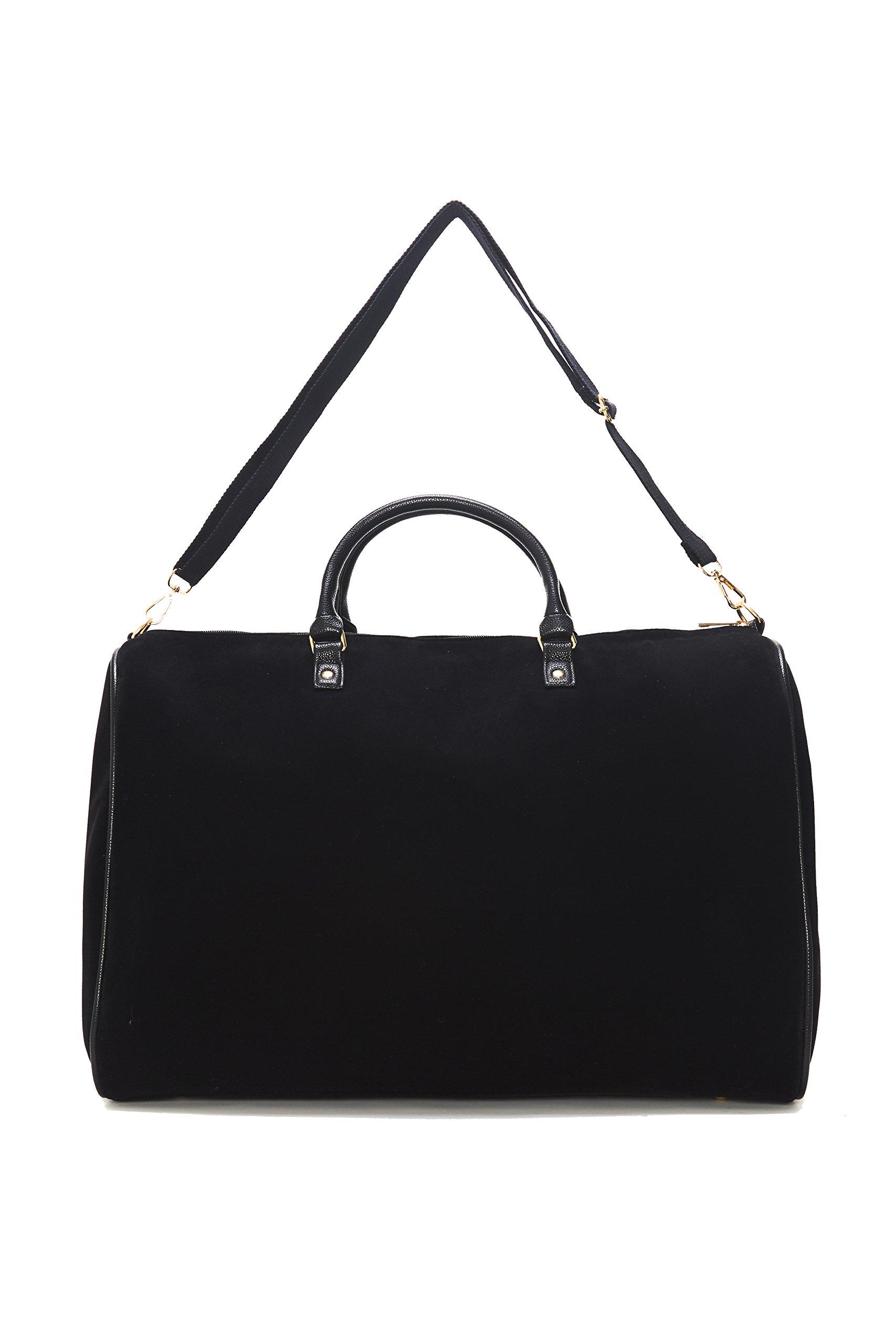 Limited Time Sale - Womens Black Velvet Weekender Bag, Duffle Bag, Overnight Bag, Travel Bag, Luggage, Large Tote Bag, Fashion Bag, Durable Bag, Best Handbag for women (Classic Black) - MSRP $99 by Lulu Dharma (Image #3)