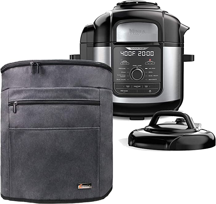 Q-Smile Pressure Cooker Cover with Two Compartment Compatible with Ninja Foodi Pressure Cooker 8 Quart, Grey