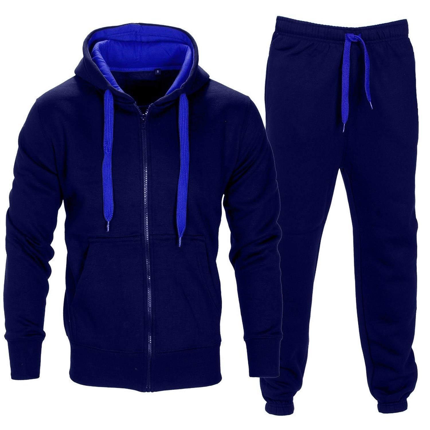 Men Tracksuit Set Contrast Cord Fleece Hoodie Bottom Jogger Gym Sport Suit Pants,Navy/Blue,XX-Large