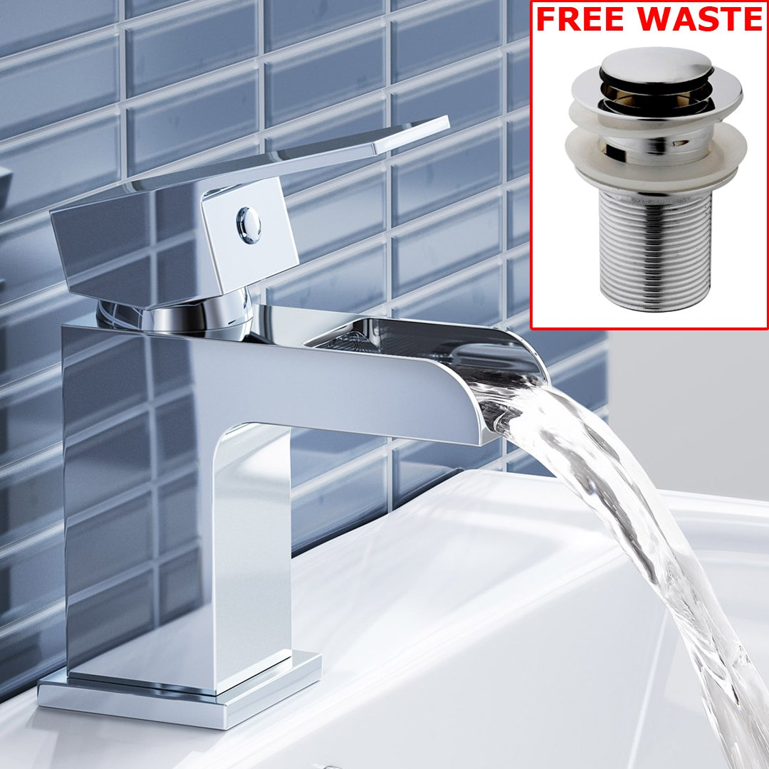 Chrome Waterfall Basin Sink Mixer Tap Modern Luxury Bathroom Lever Faucet iBathUK Luxury For Less Ltd