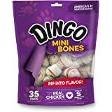 Dingo Mini Bones, Rawhide for Small or Toy Dogs, Made w/ Real Chicken