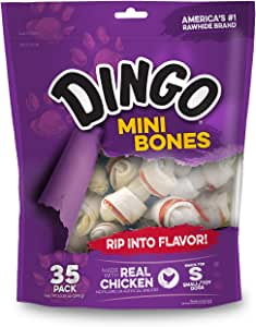 Dingo Mini Bones Rawhide for Dogs, Dog Chews Made with Real Chicken