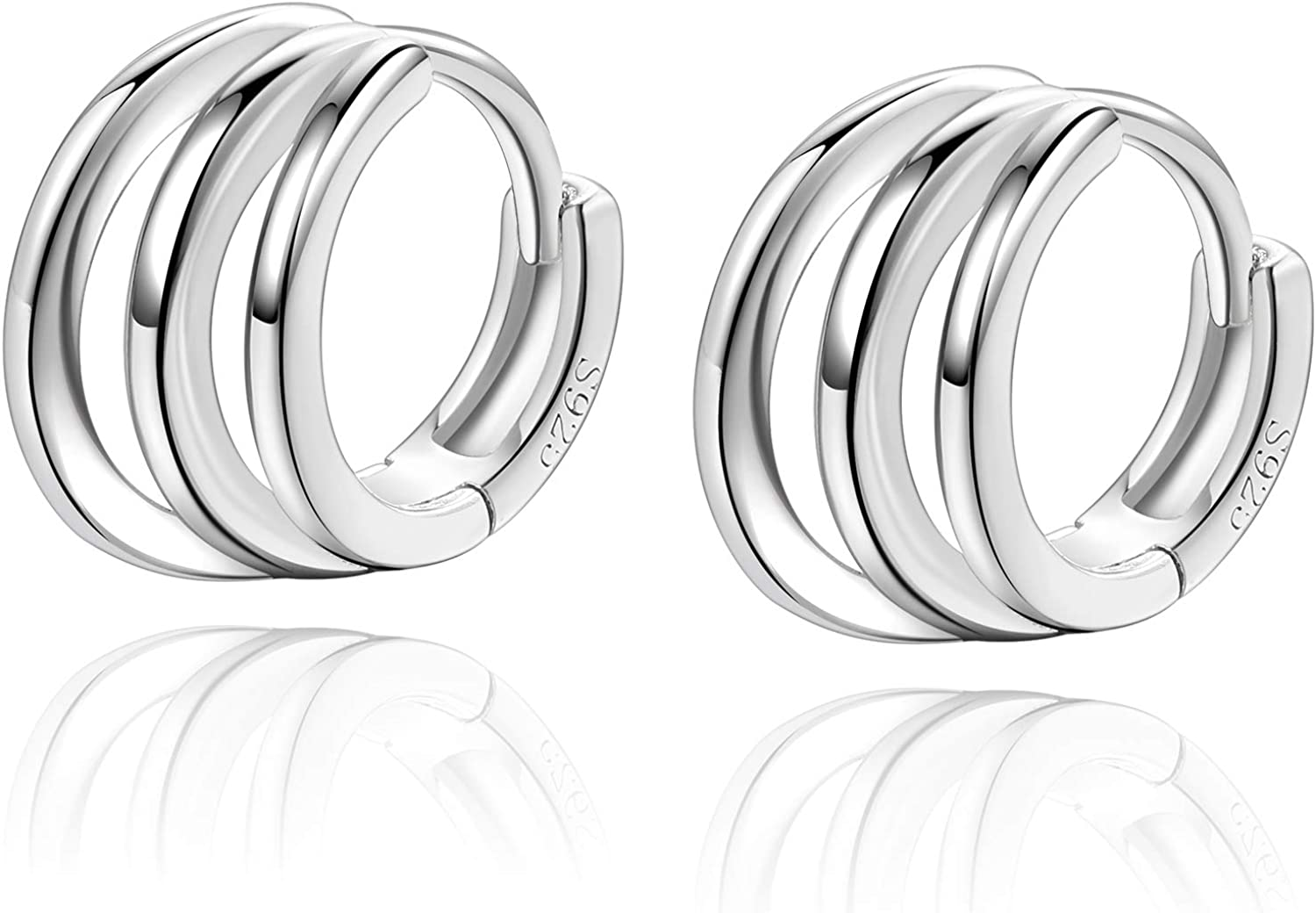925 Sterling Silver Small Hoop Earrings 8mm for Women Girlfriend Ear Cuff Huggie Hoop Earrings