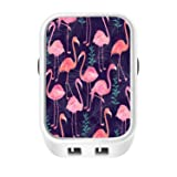 Flamingo Pattern USB Wall Charger, Portable 2 Ports USB Travel Charger 3.1A High Speed & Reliable Charging for iPhone 8 7/7Plus, 6/6S, iPad Pro, Galaxy S7, S6 Edge Plus, S5, Nexus, HTC & more