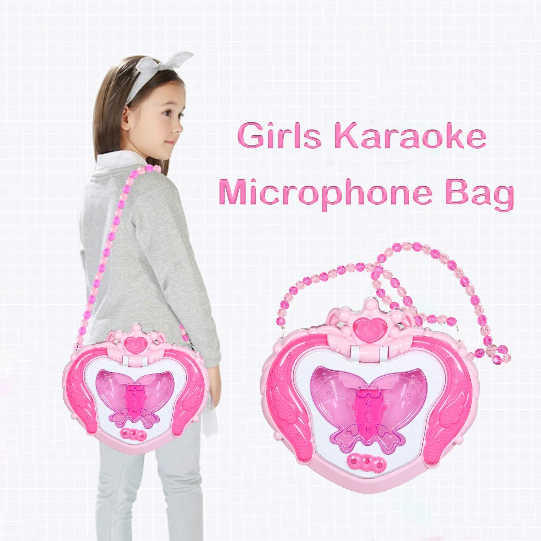 Kids Karaoke Microphone Musical Toys - Happytime Kids Pink Karaoke Adjustable Stand & Shoulder Bag with External Music Function & Flashing Lights Toy for Kids Children Girls by Happy Time (Image #3)