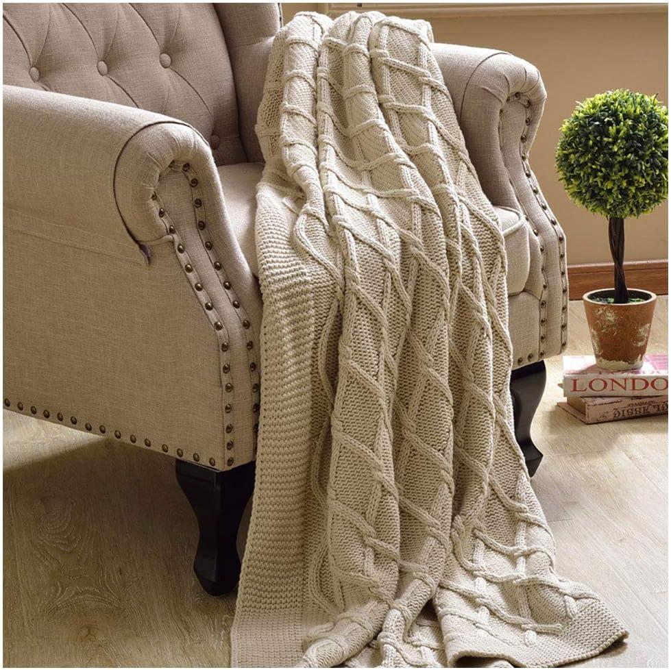 Mantas de algodón de Punto Soft Fluffy Cosy Transpirable Rhombic ...