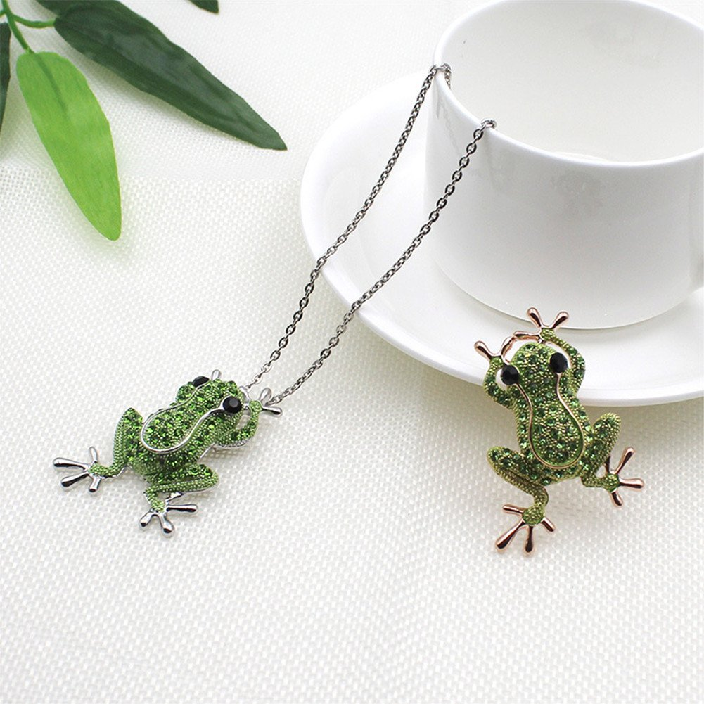 Crystal Rhinestone Synthetic Emerald Golden Frog Fashion Jewelry Pin Brooch for Christmas Gift by LOVFASHION (Image #3)