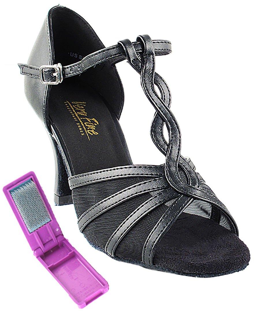 Very Fine Ballroom Latin Tango Salsa Dance Shoes for Women 1692 2.5 inch Heel + Foldable Brush Bundle - Black Leather & Black Mesh - 8.5