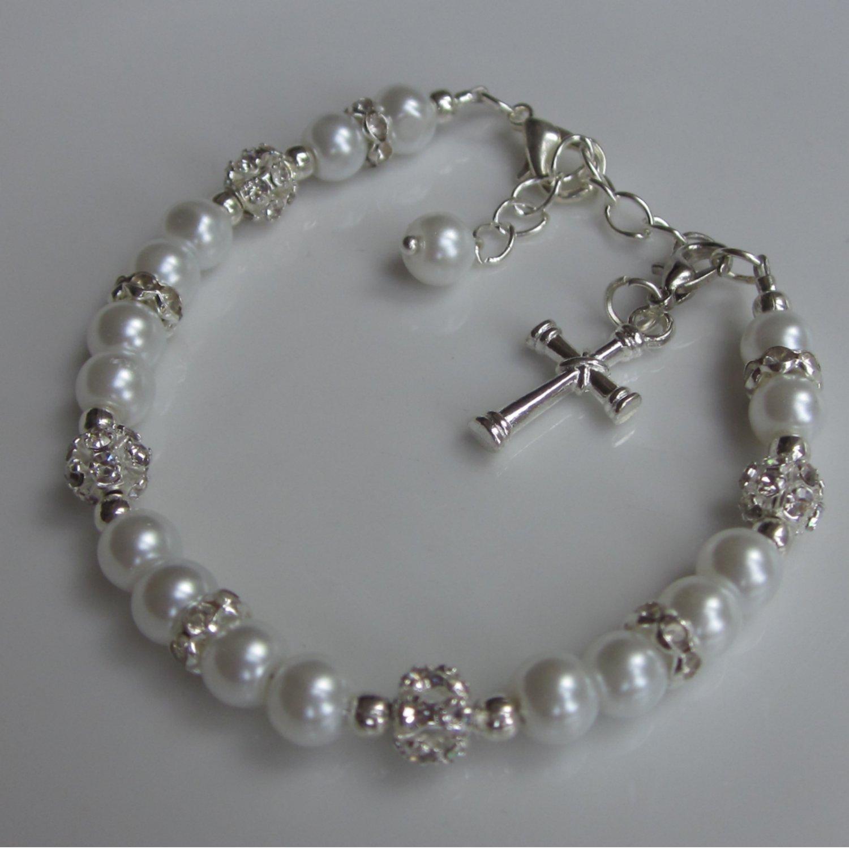 regalos Pulsera de la primera comuni/ón las ni/ñas Charm Bracelet Perlas Joyas