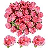 JNCH 50 pz Teste di Rose Fiori Artificiali Seta Rosa Chiaro Finte Piccole per Decorazioni Matrimonio Festa (Rosa scuro)
