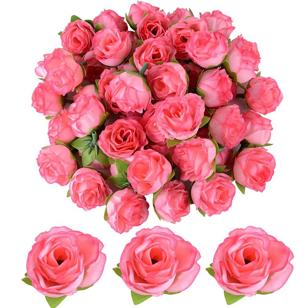 JNCH 50 pz Teste di Rose Fiori Artificiali Seta Rosa Chiaro Finte Piccole per Decorazioni Matrimonio Festa (Rosa chiaro)