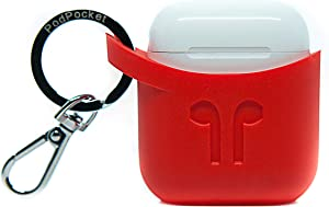PodPocket Scoop AirPod Storage Case with Protective Translucent Silicone and Impact Protection Blazing Red