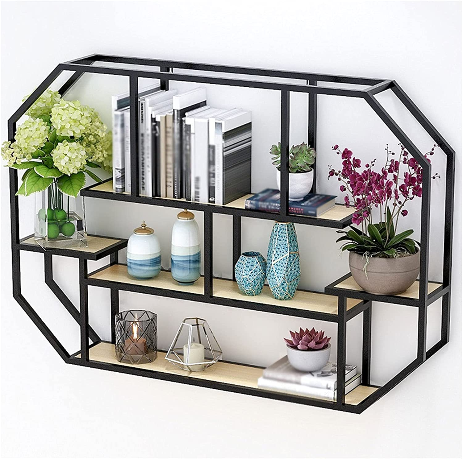 ZYLBDNB Bookcases Metal Heavy Wall-Mounted Bookshelf, Office Multi-Layer Floating Display Rack Bedroom Living Room Bathroom Shelf Storage Rack(Gold/Black) Bookcases and Book Shelves (Color : Black)