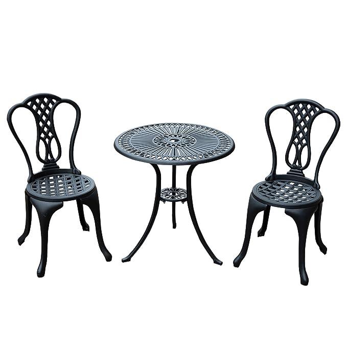 Salon de jardin mobilier de jardin bistrot 2 chaises + 1 ...