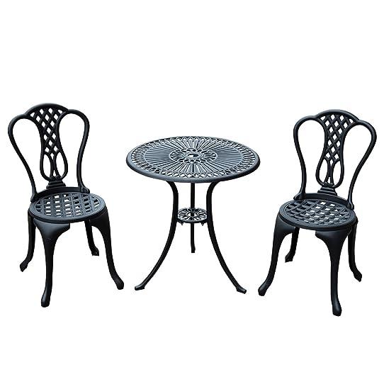 Salon de jardin mobilier de jardin bistrot 2 chaises + 1 table en ...