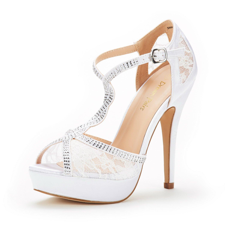 DREAM PAIRS Women's Swan-16 White Fashion Stilettos Peep Toe Pump Heeled Sandals Size 8.5 B(M) US