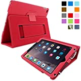 Snugg iPad Air & New iPad 9.7 inch 2017 Case - Smart Cover Case with Kick Stand & (Red Leather) for the Apple iPad Air 1 (2013)