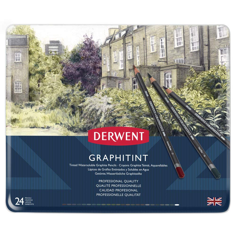 Derwent 700803 Graphitint Tinted Graphite Drawing Pencils, Set of 24, Watersoluble, Professional Quality, Multicolor