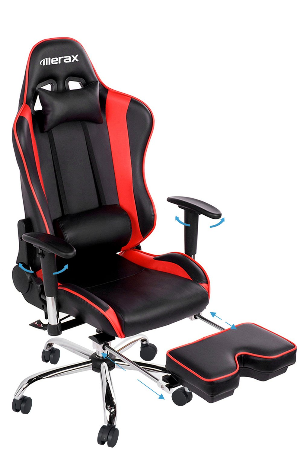 Computer gaming chair - Amazon Com Merax Ergonomic Series Pu Leather Office Chair Racing Chair With Footrest Computer Gaming Chair Recliner Swivel Tilt Rocker And Seat Height