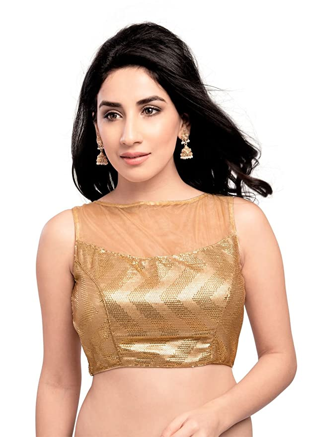 Amazon.com  Sensational Gold Sequined Sleeveless Ready-made Saree Blouse -  X-225  Clothing