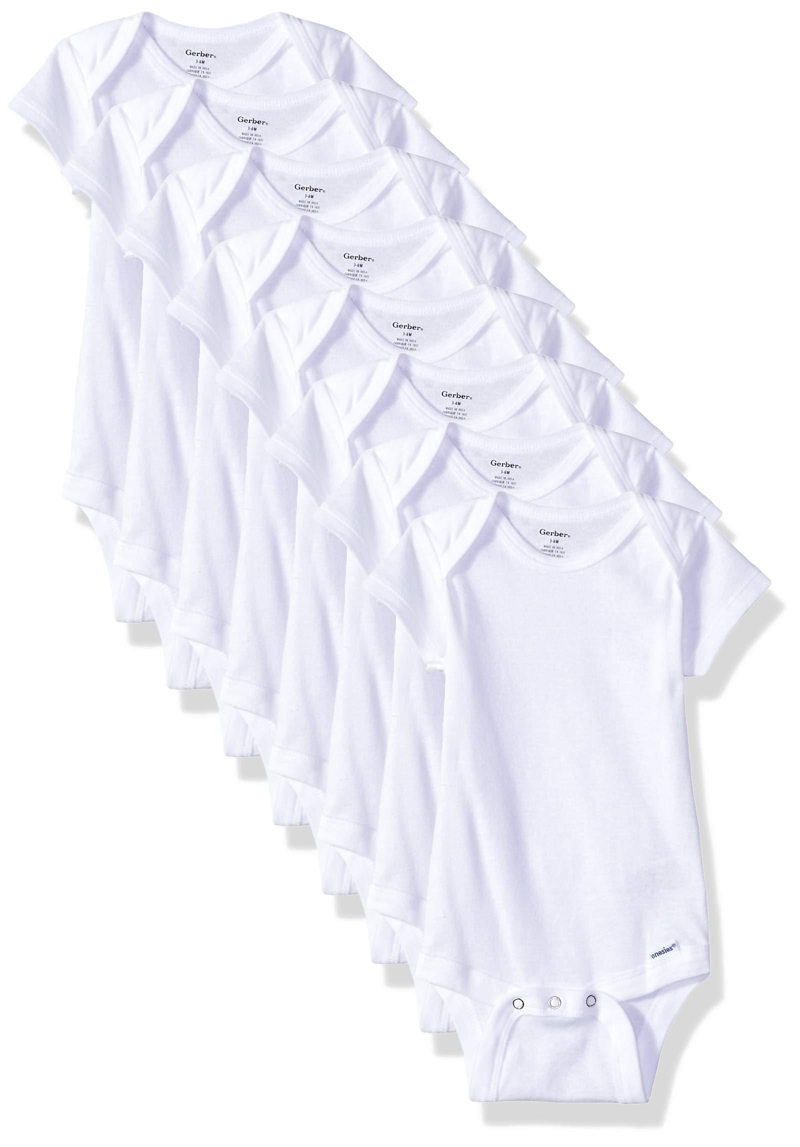 Gerber Baby 8-Pack Short-Sleeve Onesies Bodysuit, White, 0-3 Months