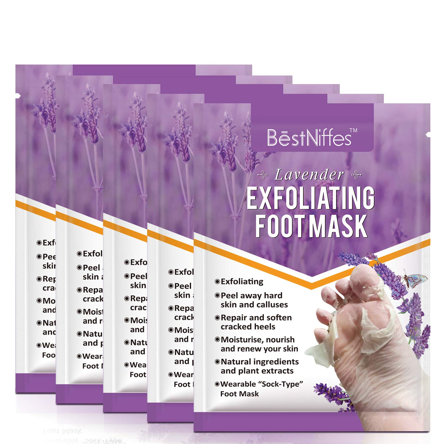 Lavender Foot Peel Mask Exfoliating - 5 Pack Baby Peeling Scrub Mask Dead Skin cells Remover Repairs Rough Heels & Get Smooth in 5 Days Moisturizing Foot mask for Men Women
