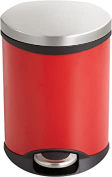 Safco Products 9900RD Ellipse Step-On Trash Can Red 1 1//2-Gallon