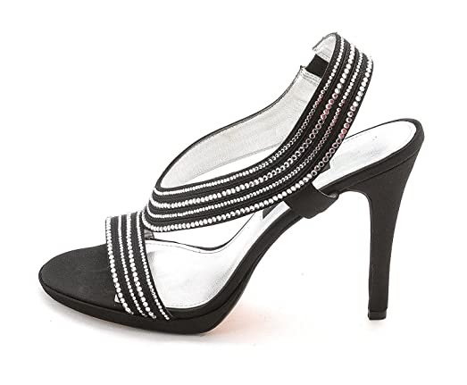 Caparros Womens Tyra Slingback Sandal Black Satin Size 70