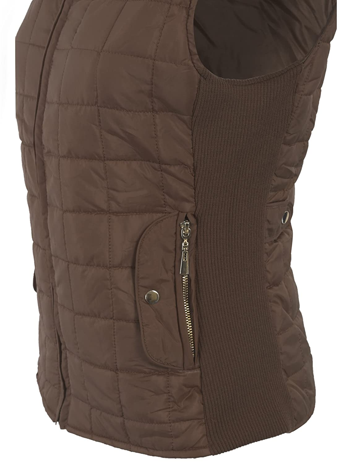 43604937d2d KOGMO Womens Quilted Fully Lined Lightweight Vest With Hoodie-S-Mocha Hoodie  at Amazon Women s Clothing store