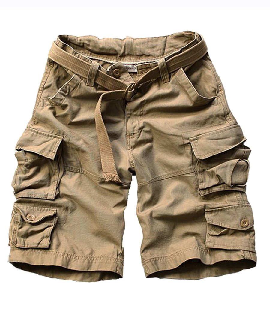 FOURSTEEDS Women's Cotton Loose Fit Multi-Pockets Camouflage Casual Twill Bermuda Cargo Shorts with Belt Khaki US 6