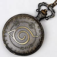 Steampunk Naruto Inspired Watch Necklace Vintage Brass Naruto Charm Locket Watch Necklace
