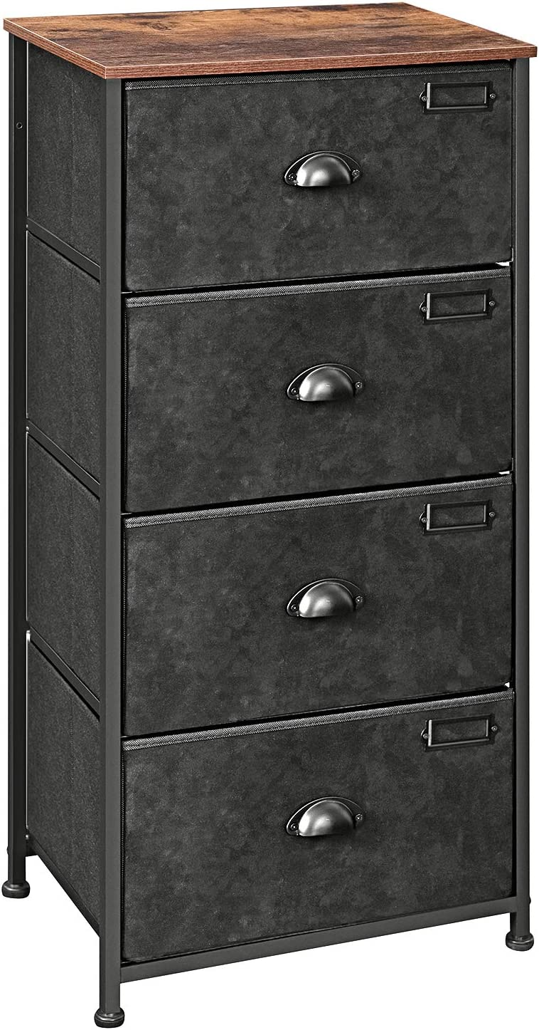 SONGMICS Vertical Dresser Tower, Fabric Drawer Dresser with 4 Drawers, Labels, Wooden Top, Metal Frame, Industrial Closet Storage, for Living Room, Hallway, Nursery, Rustic Brown and Black ULVT04H