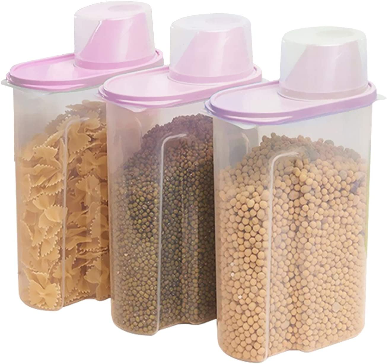 TRUSBER 3PACK 2.5L(89oz) Cereal Storage Plastic Jar Airtigh Transparent Kitchen Dry Food Dispenser Containers with Measuring Cup for Grain,Flour,Rice,Candy,Cookies,etc