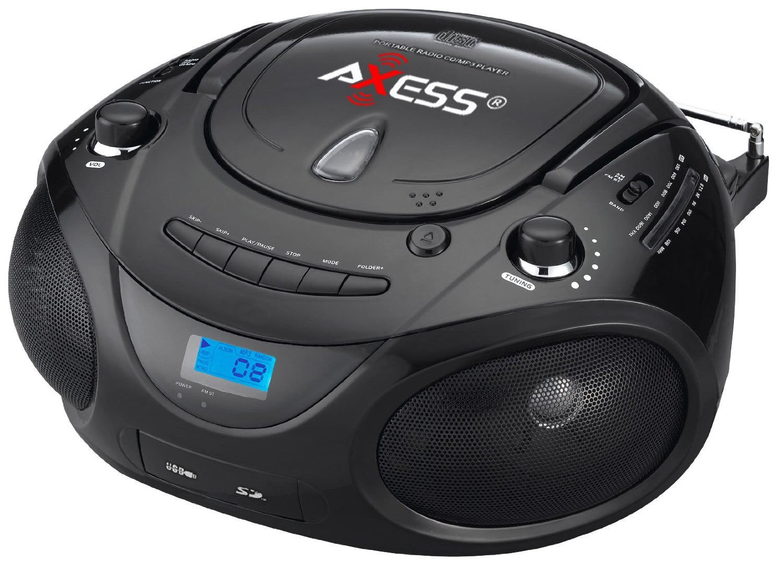 Shop 新品 Axess PB2703 ブラック ポータブル ブームボックス MP3 /CD プレーヤー テキストディスプレイ AM/FM ステレオ   B00K6LUWMO