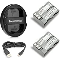 Newmowa En-EL3 Battery (2-Pack) and Dual USB Charger for Nikon EN-EL3e and Nikon D50, D70, D70s, D80, D90, D100, D200, D300, D300S, D700