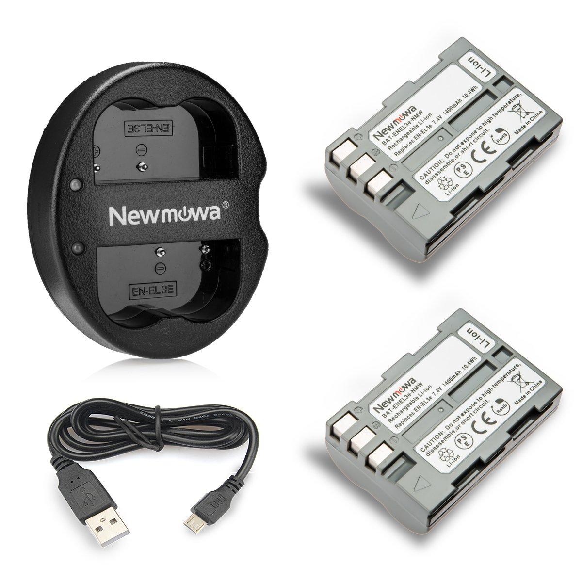 Newmowa EN-EL3e Battery (2-Pack) and Dual USB Charger for Nikon EN-EL3e and Nikon D50, D70, D70s, D80, D90, D100, D200, D300, D300S, D700