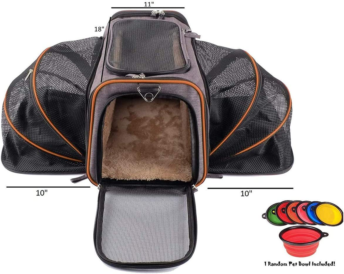 Petpeppy The Original Airline Approved Expandable Pet Carrier by Pet Peppy- Two Side Expansion, Designed for Cats, Dogs, Kittens, Puppies - Extra Spacious Soft Sided Carrier! (Black) : Pet Supplies