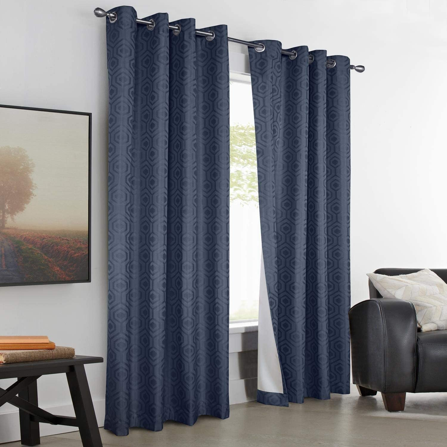 "Common Wealth Home Fashions High Gate Insulated Blackout"" Curtains with Geometric Pattern"