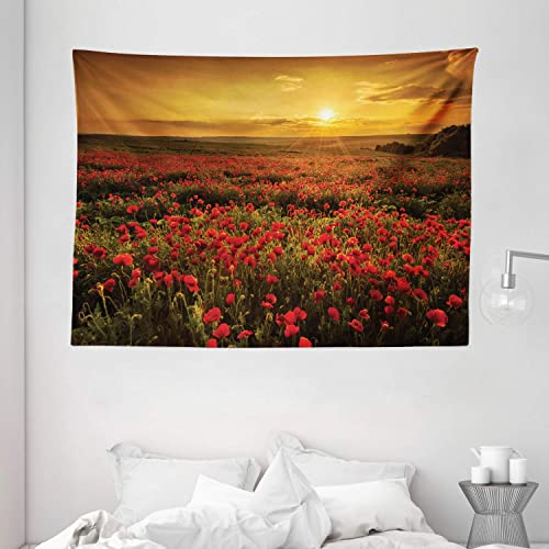 Ambesonne Flower Tapestry, Poppy Field at Sunset Sun Beams Meadow Cloudscape Wildflower Scene, Wide Wall Hanging for Bedroom Living Room Dorm, 80 X 60 , Red Orange