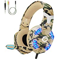 VersionTECH. [Updated] Gaming Headset for PS4 Xbox One, Gaming Headphones with Mic, Noise Reduction, LED Lights for Laptop, Mac, PC, Switch Games -Camo