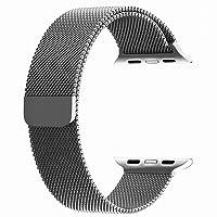 top4cus para Correa de Apple Watch, Electrochapeado Doble Milanese Aro Reemplazo de Acero Inoxidable iWatch Pulsera con Cerradura magnética para Apple Watch (Plata, 38mm Longitud Regular)